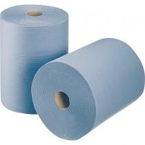 Papier-rollen blauw, 2-laags, 22x36 cm, 1000 vellen, prijs is per 2 stuks.