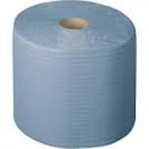 Papier-rollen blauw, 3-laags, 38x36 cm, 1000 vellen, prijs is per 2 stuks.